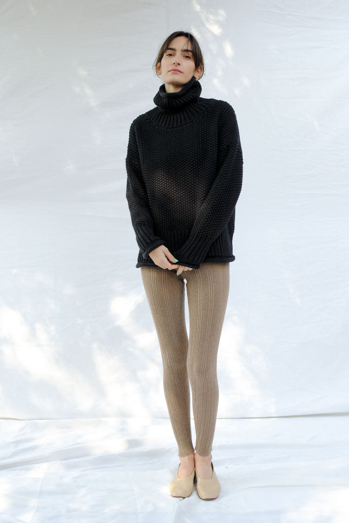 Faded Black Roll Neck Seed Sweater