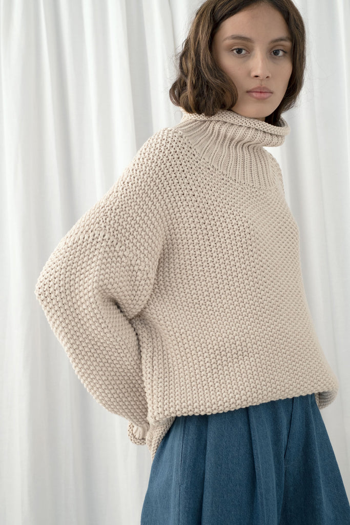 Cream Roll Neck Seed Sweater