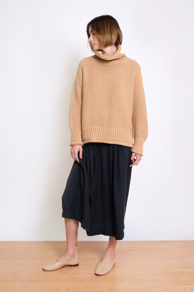 Ecru Roll Neck Seed Sweater