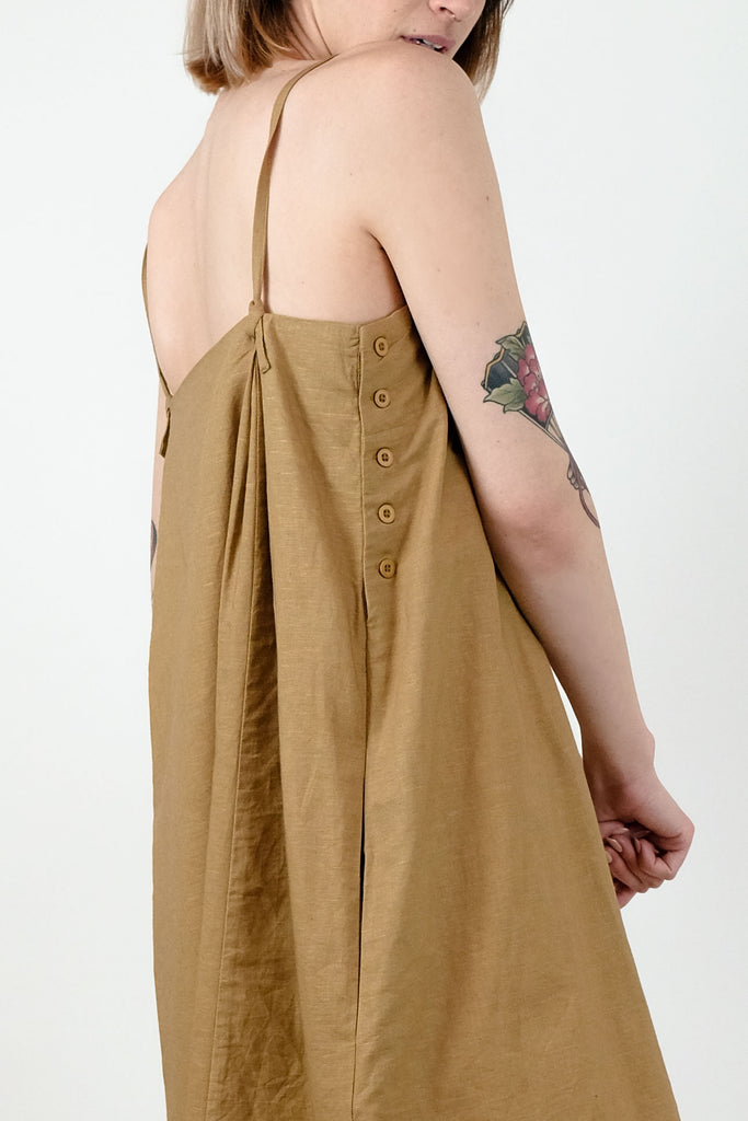 Golden Straight Pleated Dress
