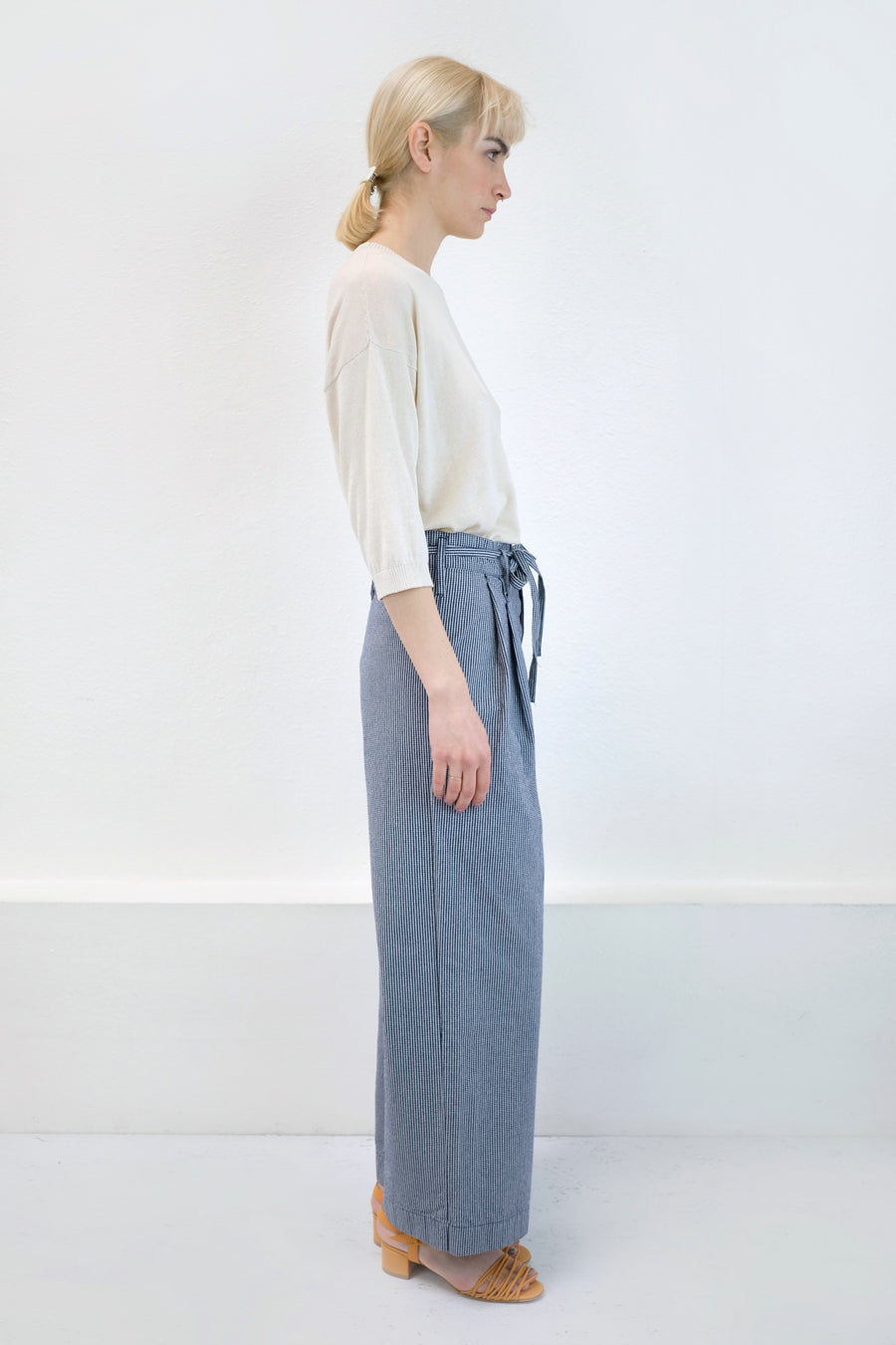 Mini Check Tie Wide Pant