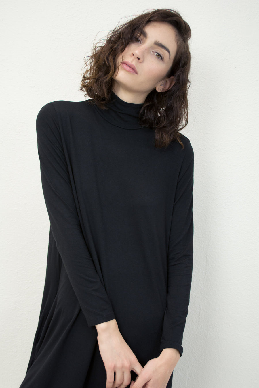 Black Jersey Mock Neck Dress