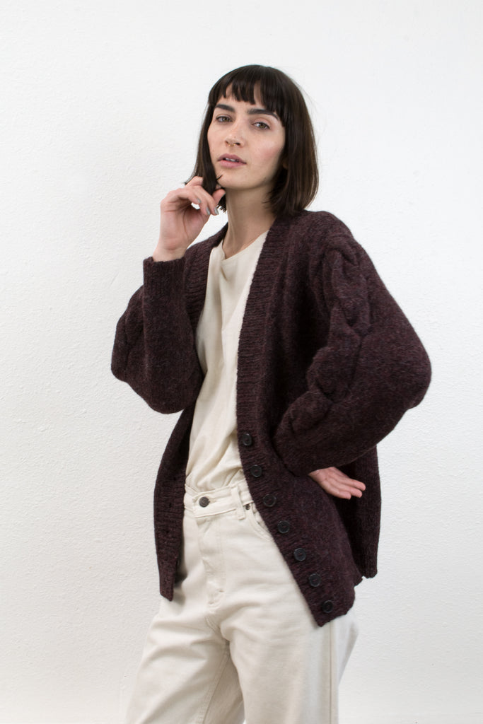 Burgundy Twist Cardigan