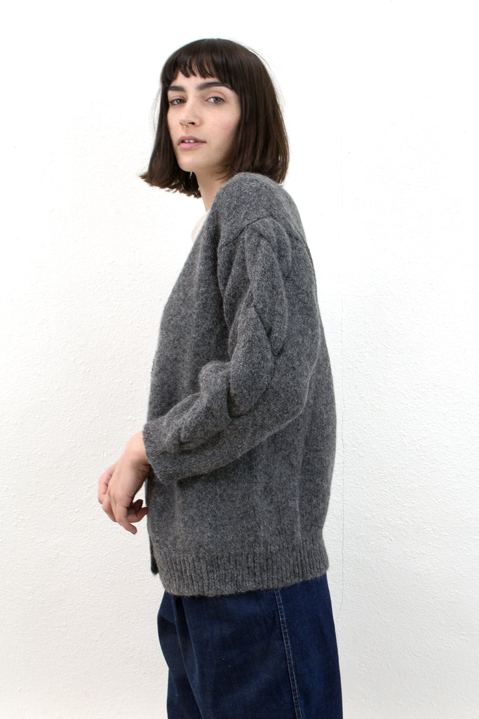 Melange Grey Twist Cardigan