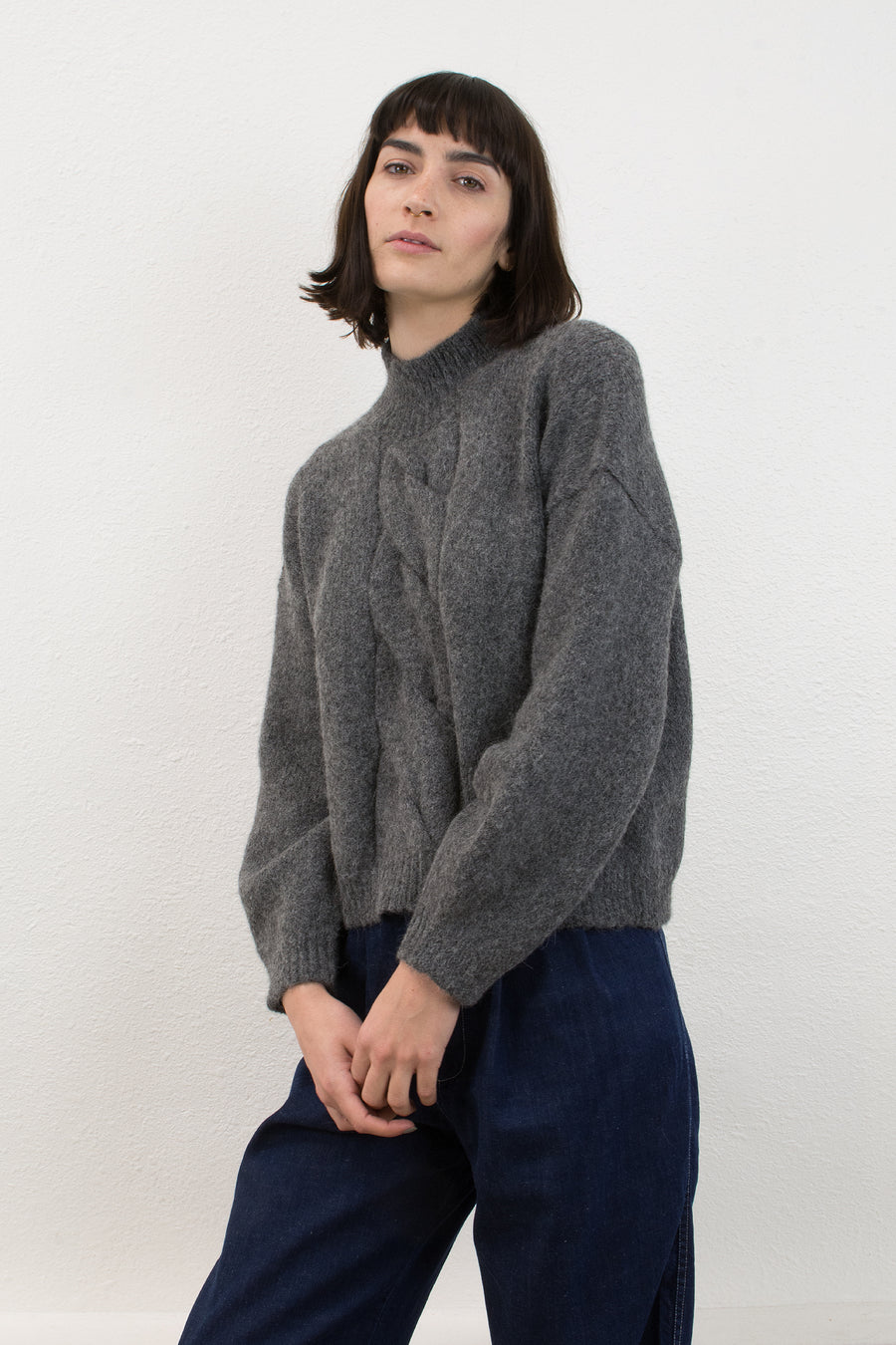 Melange Grey Twist Cable Sweater