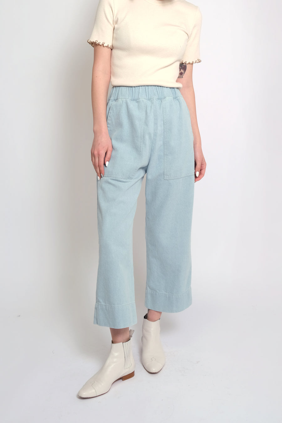 Sky Blue Denim Utility Pant