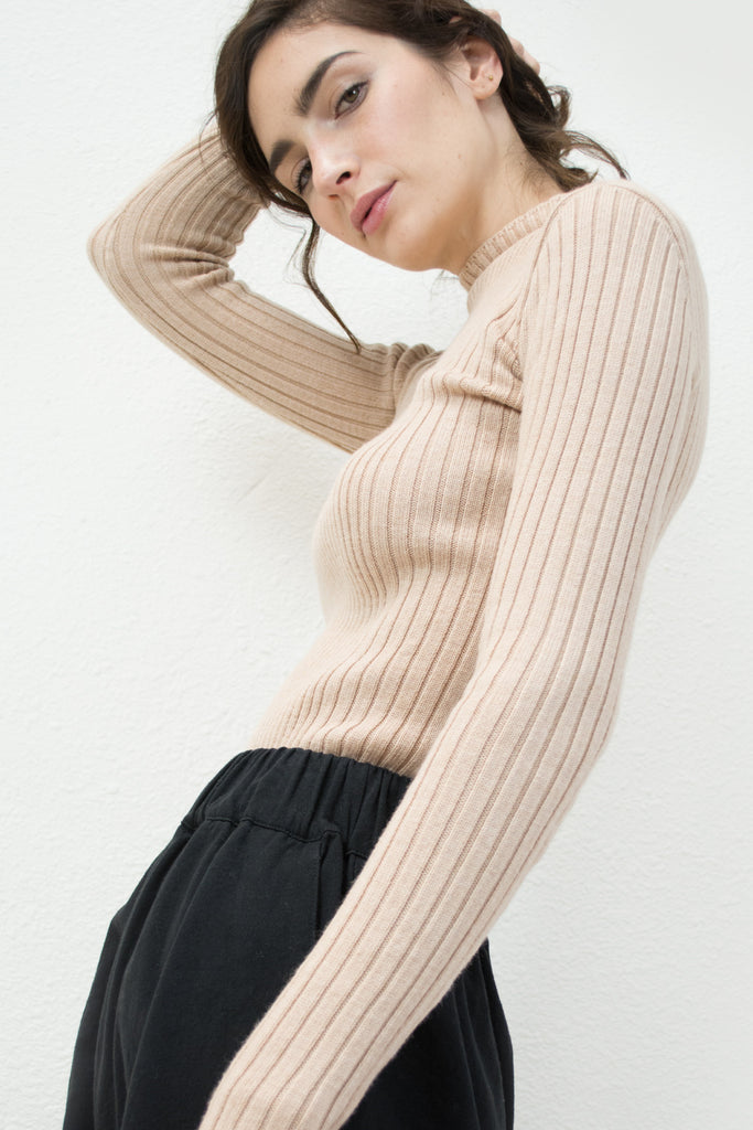 Nude Variegated Rib Turtleneck Sweater