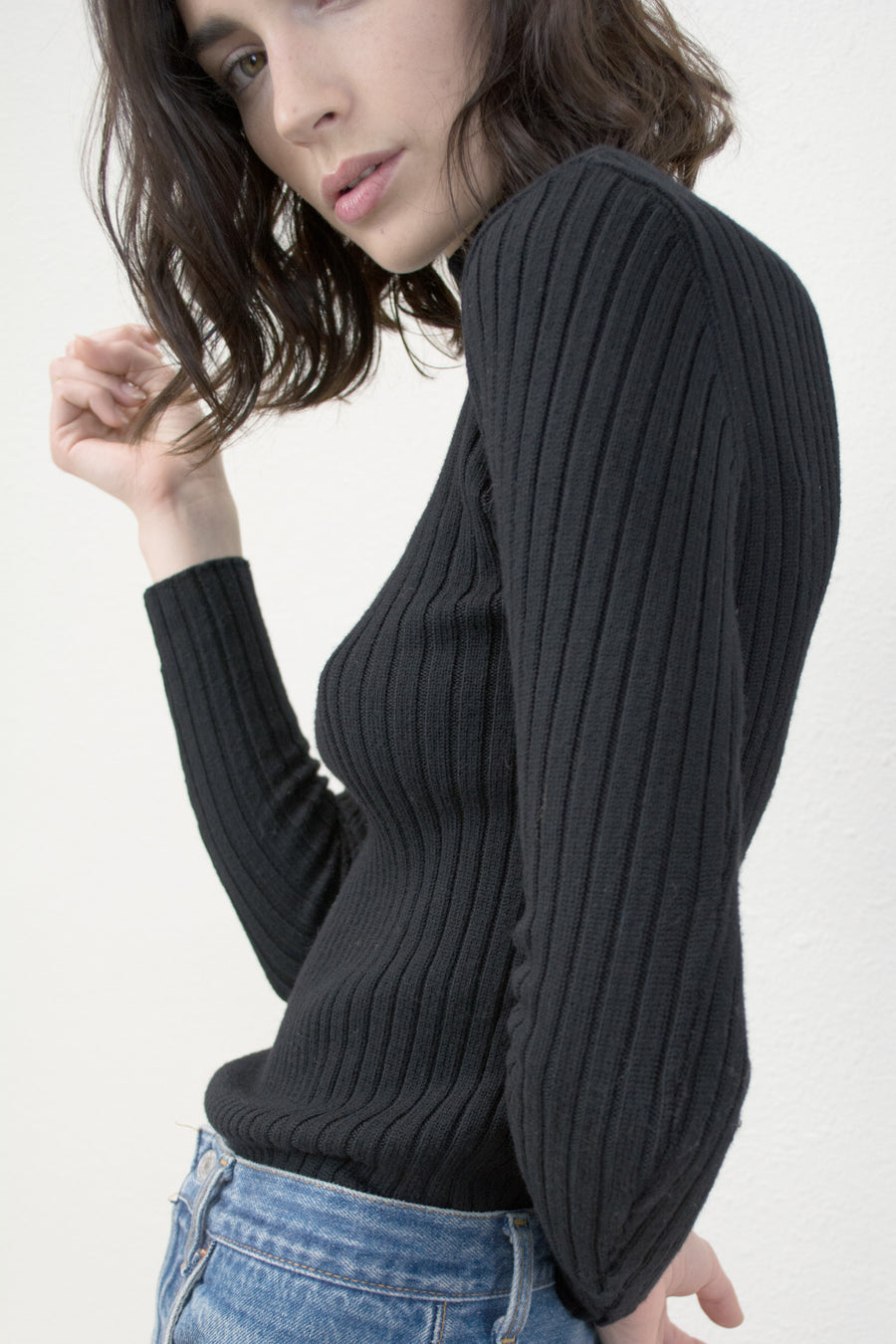 Black Variegated Rib Turtleneck