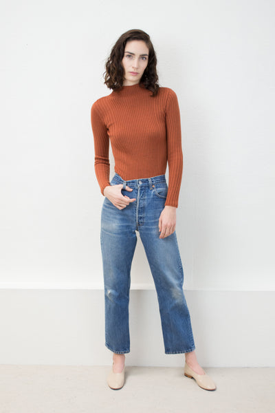 Rust Variegated Rib Turtleneck Sweater