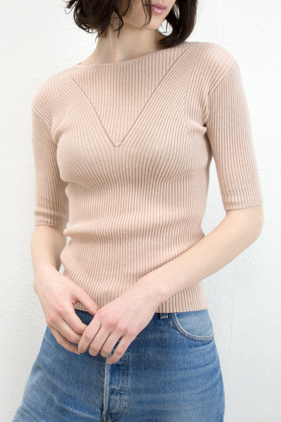 Nude V-Rib Sweater