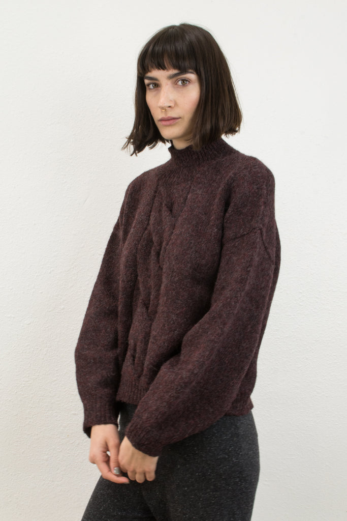 Burgundy Twist Cable Sweater