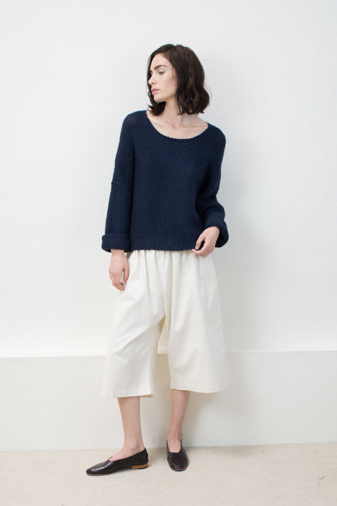 Navy Woven Stitch Sweater