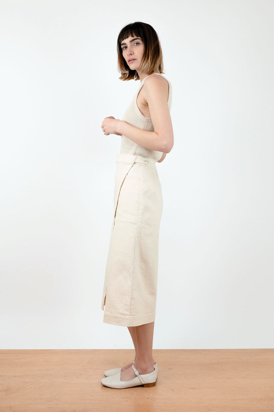 Cream Wrap Skirt