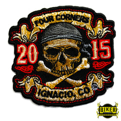 2015 Ignacio Four Corners Biker Skull Patch-Small