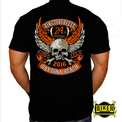 Official 2016 Biketoberfest Orange Wing Skull, T-Shirt