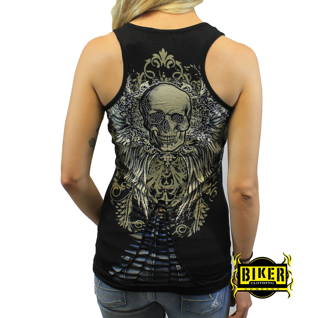 Braided Lower Back With Skull Wings Tank Top