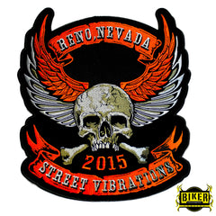 2015 Street Vibrations Reno Orange Skull Wing Patch-Large