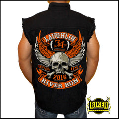 Official 2016 Laughlin River Run Orange Skull Wing Sleeveless Denim