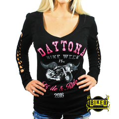 2016 Daytona Beach Bike Week Hot Pink Hustle & Ride Long Sleeve Top