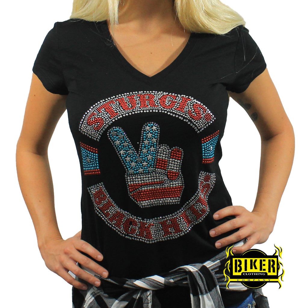2016 Official Sturgis American Flag Peace Short Sleeve Ladies' Top