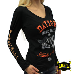 2016 Daytona Beach Bike Week Orange Hustle & Ride Long Sleeve Top
