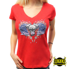 Patriotic Live to Ride Angel Wing Short Sleeve-Red
