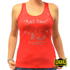 Official 2016 Daytona Beach Bike Week Orange Wing 75th Annual Tank-top Fashion