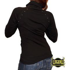 Black Zipper Stone Long Sleeve