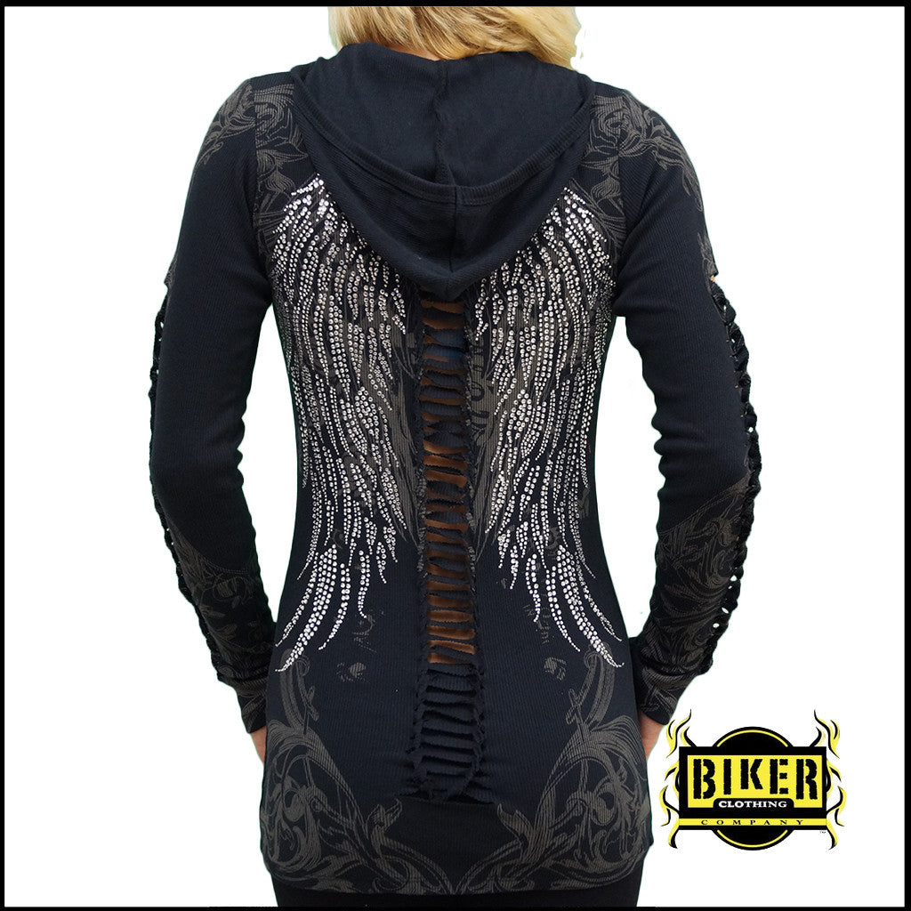 Black/Gray Long Sleeve Silver Stone Fashion Top
