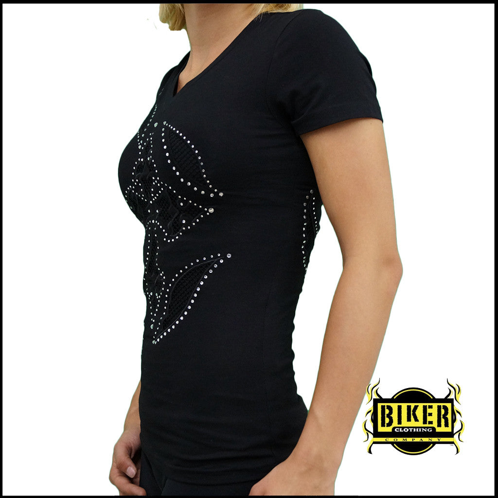 Black Net See Through Short Sleeves