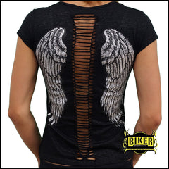 Cut Out Shear Angel Wing Fashion Top - Black