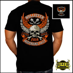 HOLLISTER INDEPENDENCE RALLY, ORANGE WINGED SKULL T- SHIRT