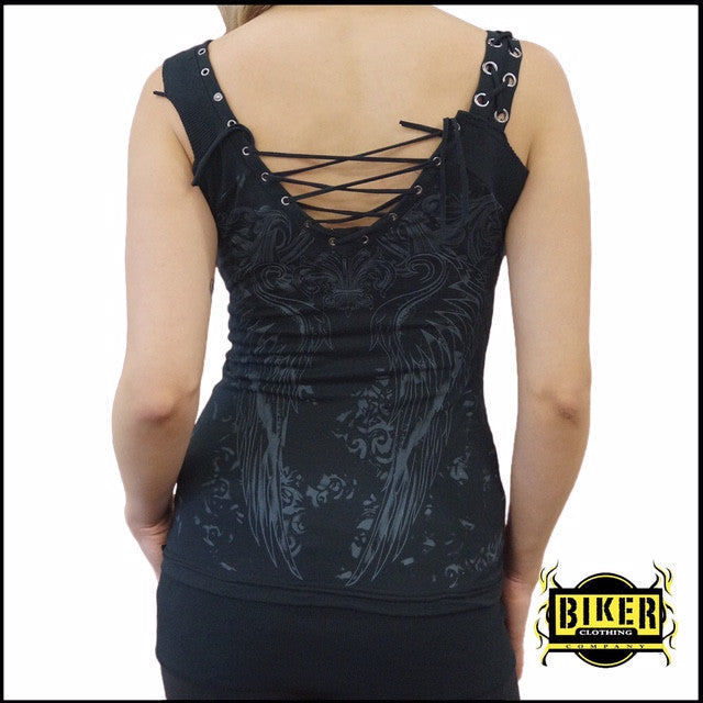 Plus Size Corset Silver Stone Fashion Tank Top In Black