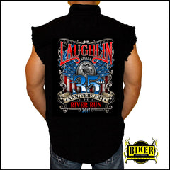 Official 2017 Laughlin River Run Big Eagle American Theme, Sleeveless Denim