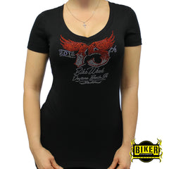 Official 2016 Daytona Beach Bike Week Red 75th Wing Lady Fashion