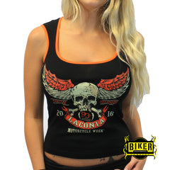 2016 Laconia Motorcycle Rally Orange Skull Wing Tank Top