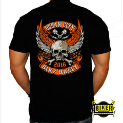 2016 Ocean City, Maryland Orange Winged Skull, Short Sleeve