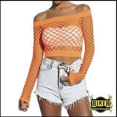 Neon Orange Cut Out Fishnet Off Shoulder Cropped Clubbing Top