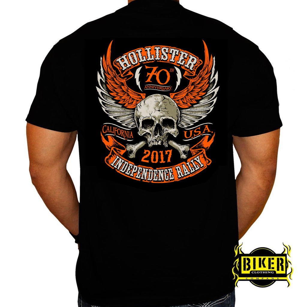 Official 2017 Hollister Orange Winged Skull T-shirt