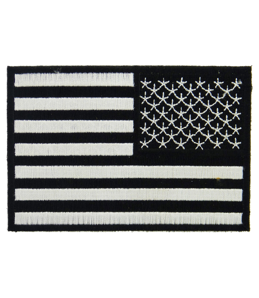 us flag reversed black white