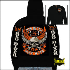 2016 RED RIVER ORANGE WINGED SKULL HOODIE