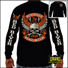 2016 RED RIVER ORANGE WINGED SKULL LONG SLEEVE