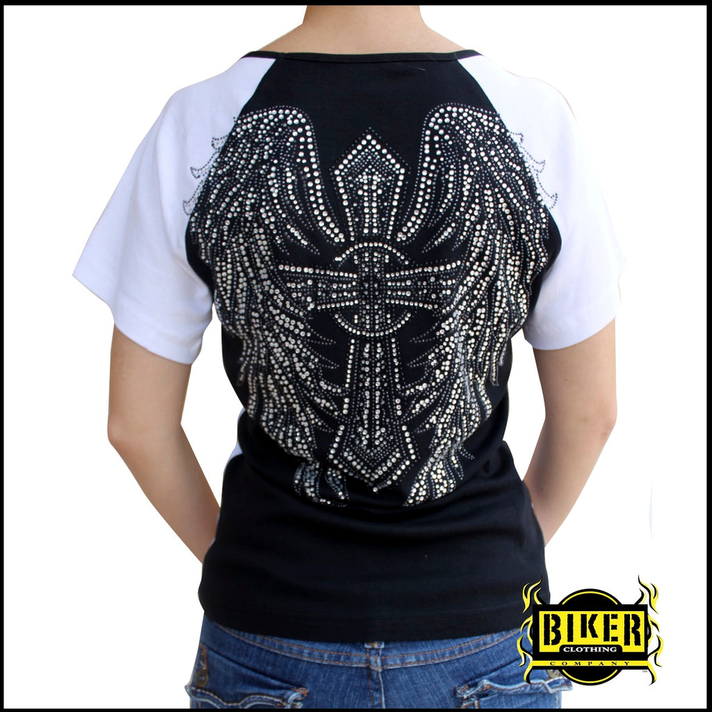Plus Size Angel Wing Cross  Fashion Top