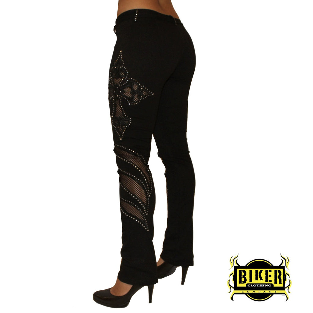 Black Cross Flame See-Through Stretch Pants