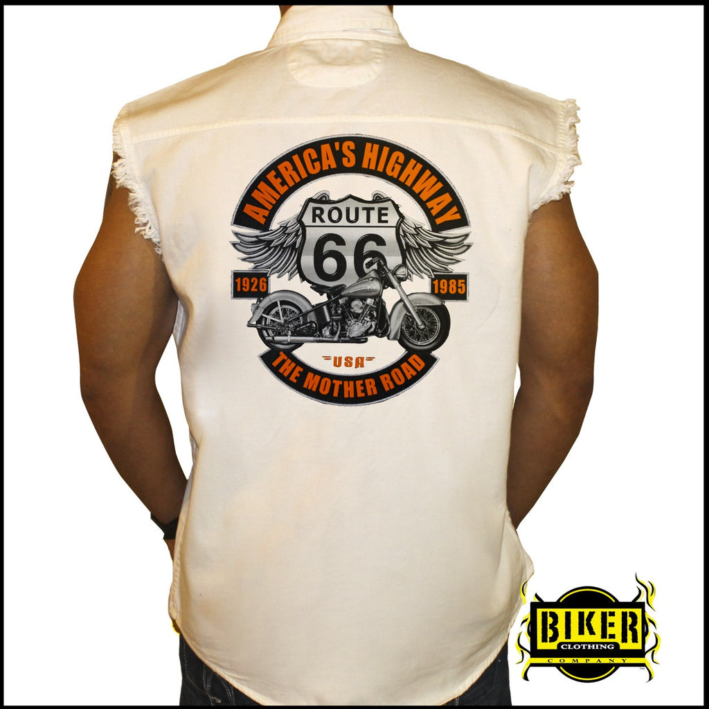 America's Highway Sleeveless Denim Shirt | Biker Clothing ...