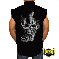 Official 2018 Daytona Beach Bike Week Smoke Sleeveless Denim