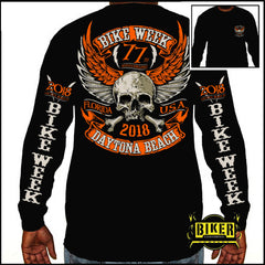 Official 2018 Daytona Beach Bike Week Orange Skull Long Sleeve