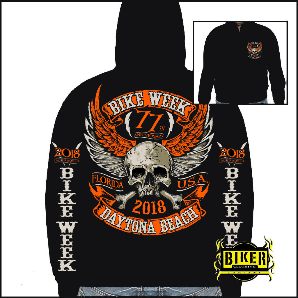 99f84b4795 Official 2018 Daytona Bike Week Orange Skull Sweatshirt