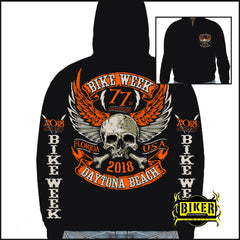 Official 2018 Daytona Bike Week Orange Skull Sweatshirt