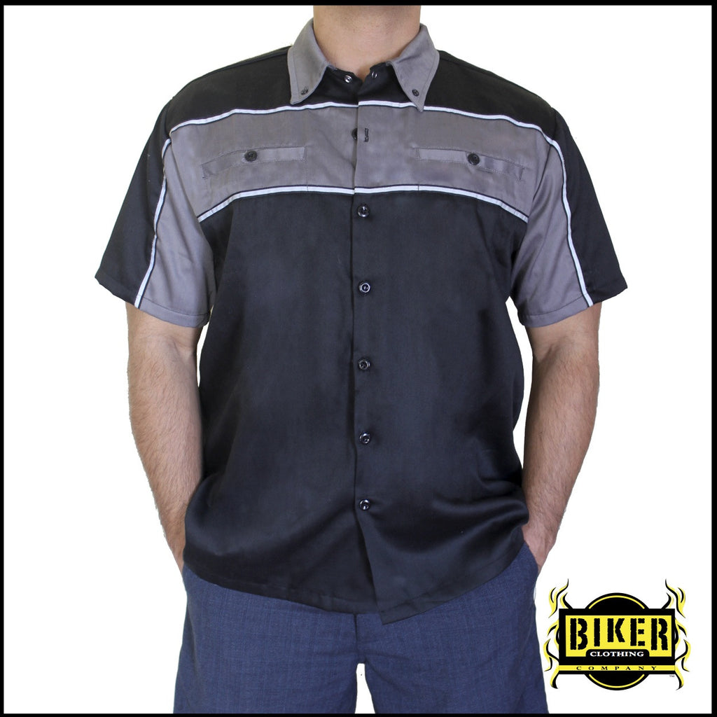 Black Reflective Mechanic Button Down Shirt - Different Designs Available